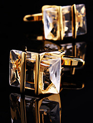 Toonykelly® Fashion Copper Gold Plated Transparent Glass  Button Cufflinks(1 Pair) Christmas Gifts