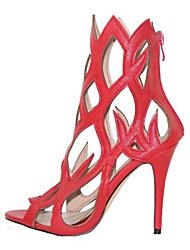 Women's Shoes Leatherette Stiletto Heel Heels / Peep Toe Sandals Wedding / Outdoor / Dress Black / Red / White