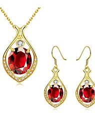 Fashion Water-Drop Zircon Jewelry Gold-Plating Twinset(Gold,Rose Gold,White)(2pcs)