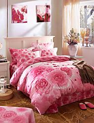 Bedding Set Cotton  Twill Fashion Big Edition Flower Bedding Four Pieces