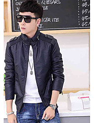 The 2015 men's Leather Slim collar motorcycle leather PU leather jacket casual spring tide