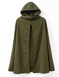 Women's Going out Sexy / Street chic Cloak/Capes,Solid Hooded Long Sleeve Green Polyester