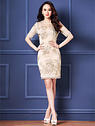 Sheath/Column Mother of the Bride Dress - Royal Blue / Ivory Knee-length Half Sleeve Tulle / Polyester