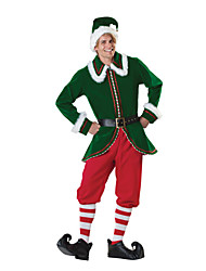 Extravagant Polyester Green Mens Christmas Father Costume(Hat+Top+Pant+Stockings+Belt)
