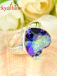 Luckyshine Sparking 925 Silver Sweetly Heart Fire Rainbow Mystic Topaz Crystal Gemstone Rings For Christmas Gift