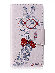 Giraffe Pattern PU Leather Material Flip Card  for Samsung Galaxy A3/A5