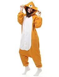 Kigurumi Pijamas Urso Guaxinim Collant/Pijama Macacão Festival/Celebração Pijamas Animais Dia das Bruxas Castanho Patchwork Lã Polar