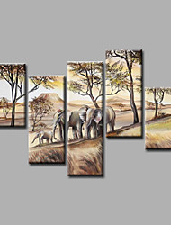 Ready to Hang Stretched Hand-Painted Oil Painting Canvas Wall Art  Elepants Hills Trees Modern Five Panels
