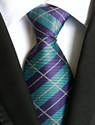 Men Wedding Cocktail Necktie At Work Purple Blue Cross Tie