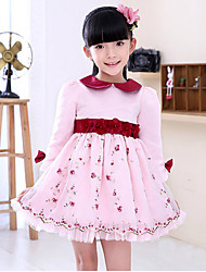 Girl's Long Sleeve Turn-down Collar Flowers Flora Mesh One Piece Princess Dress (Polyester)