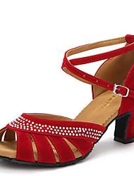 Latin Women's Dance Shoes Sandals Velvet Rhinestone Cuban Heel Black/Blue/Red