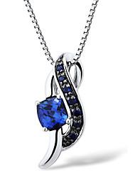 мода стерлингового серебра с платиновым напылением с кулоном, созданных SAPHIRE женского с серебряной коробке цепи