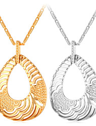 Vogue New Hollow Dangle Pendant Necklace 18K Real Gold / Platinum Plated Jewelry for Women High Quality