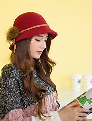 Women  Solid Color Tweed&Wool Fedora Hat with Pompon LD00060