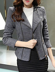 Winni Women's Solid Color Black / Yellow / Gray Coats & Jackets , Casual Tailored Collar Long Sleeve