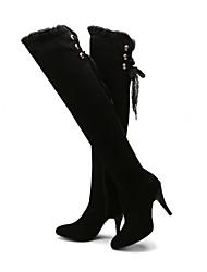 Черный - Женская обувь - Для офиса / Для праздника / Для вечеринки / ужина - Флис - На шпильке - На каблуках / С закрытым носком - Ботинки