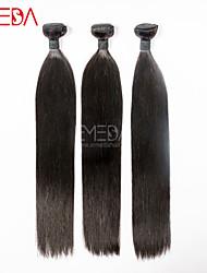 3pcs / lot virgens seda cabelo malaio retas extensões de cabelo humano natural preto 8 '' - 30 '' cabelo tece bundles