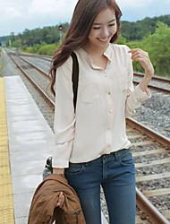 Mulheres Camisa Colarinho Chinês Manga Longa Bolso Linho Mulheres
