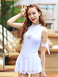 Women White Hollow One Piece Swimsuit
