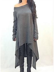 婦人向け カジュアル / プラスサイズ 長袖 プルオーバー , ニット 厚手