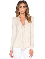 V-hals - Spandex - Split - Vrouwen - T-shirt - Lange mouw