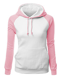 Women's Color Block Blue / Pink / Red / Gray / Green / Yellow Hoodies , Casual / Day / Active Hooded Long Sleeve