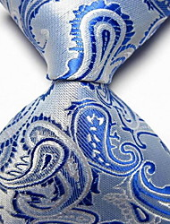 Men Wedding Cocktail Necktie At Work White Blue Flower Tie