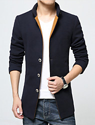Men's Long Sleeve Long Coat , Wool Pure