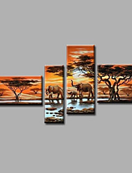 Ready to Hang Stretched Hand-Painted Oil Painting Canvas Wall Art Elephants Trees Forest River Modern Four Panels