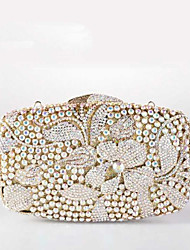 Women's Flower Design Diamond Evening Box Bag Elegant Wedding Clutch Bag