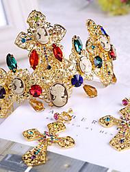 Bride's Flower Shape Rhrinestone Foehead Wedding Hair Band Headbands 1 set (1 pc crown + 1 pair earrings)