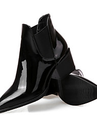 Calçados Femininos - Botas - Conforto / Botas Cano Curto / Bico Fino / Botas Montaria / Botas da Moda - Salto Baixo - Preto -Couro /