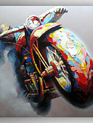 Oil Painting a Man Riding Motorbike by Knife Hand Painted Canvas with Stretched Framed