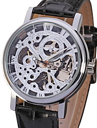 WINNER® Men's Elegant Silver Dial Black Leather Band Manual Mechanical Skeleton Wrist Watch Cool Watch Unique Watch