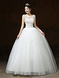 Ball Gown Wedding Dress - White Floor-length Scoop Satin / Tulle