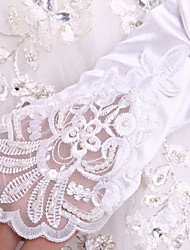Elegant Satin Gloves Party/Evening Fingerless Gloves  Elbow Length Wedding Dress Accessories With DIY Pearls and Rhinestones