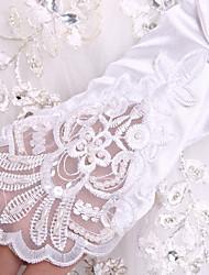 До локтя С открытыми пальцами Перчатка спандекс Ткань Роскошь Свадебные перчатки Осень Весна Вышивка С жемчугом Пайетки