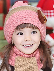 Children's Lovely Bear Pattern Knit Hat and Scarf Set