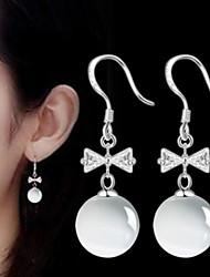 Moonstone Silver Bow Tassel Long Drop Opal Earrings