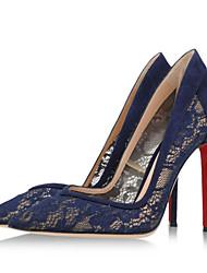 Zapatos de mujer - Tacón Stiletto - Tacones / Puntiagudos - Tacones - Vestido / Casual / Fiesta y Noche - Encaje / Vellón - Azul