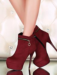 Черный Синий Красный-Женский-Для прогулок Для офиса Повседневный-Дерматин-На шпильке-Модная обувь-Ботинки