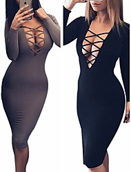 Women's V-Neck Long Bodycon Sleeve Dresses , Sexy  / Party VICONE