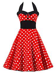 Femme Dos Nu Trapèze Patineuse Robe Sortie Vintage Mignon,Points Polka Licou Mi-long Sans Manches Rouge Coton Eté Taille Haute Micro-élastique