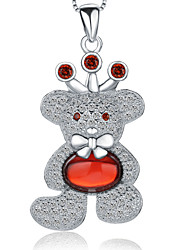 Jazlyn® Platinum Plated 925 Sterling Silver Full Of Crystal Bowknot Bear Crown Pendant Women's Girl's Necklace