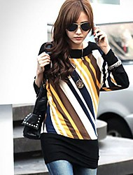 Women's Patchwork Yellow Blouse  Round Neck Long Sleeve