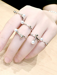 European Style Punk Fashion Personality Pearl Ring Set