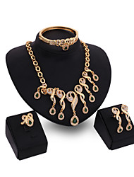 Women's Vintage 18K Gold Plated Zirconia Cut Out Flower Necklace & Earrings & Bracelet & Ring Jewelry Set