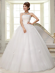 Ball Gown Wedding Dress Floor-length Strapless Lace / Satin / Tulle with Flower / Lace / Sequin
