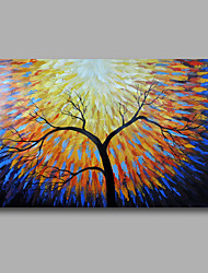 Ready to Hang Stretched Hand-Painted Oil Painting Canvas Wall Art Trees Sunrise Abstract Modern One Panel