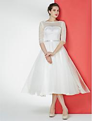Lan Ting - A-line Wedding Dress - Ivory Tea-length Bateau Lace / Tulle